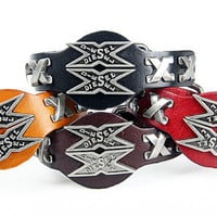 Fashion Punk  Rivets Adjustable Leather Wristband Cuff Bracelet - Great for Men, Women, Teens, Boys, Girls 2703s