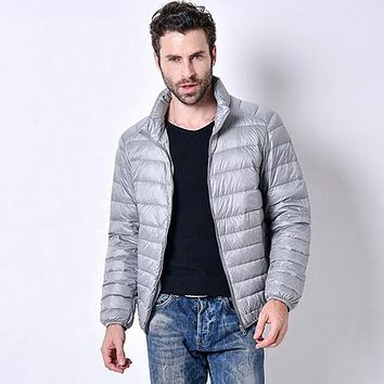 Men Thin Down Feather Cardigan Jacket Coat
