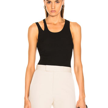 Helmut Lang Ribbed Slash Tank in Black | FWRD