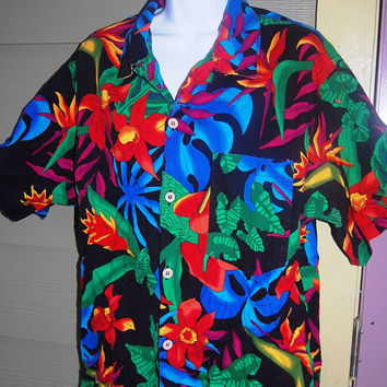 Vintage 80s Toucan Dance Bright Tropical Print Hawaiian Short Sleeve 100% Cotton Shirt Size Medium