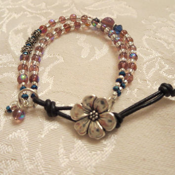 Iridescent  Mixed Media Double Strand Bracelet Iridescent Purples, Blues, Silvertone Leather Flower Button Bohemian Boho Chic Womens Girls