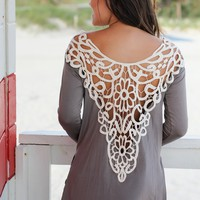 Mocha Top With Crochet Back