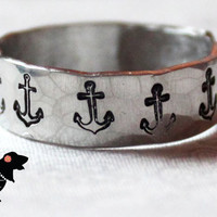 Hand stamped Anchor Adjustable Ring