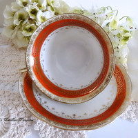 Chikaramachi Hand Painted Porcelain China Red and Gold Tea Cup Saucer Vintage China Vintage Tea Cup Replacement China Antique Tea Cup Gift