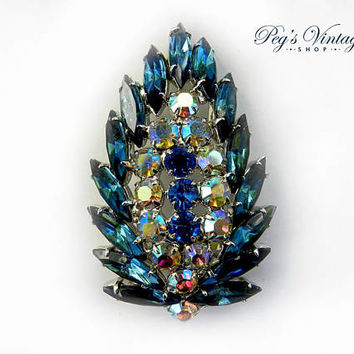 Stunning Blue Swarovski Crystal Brooch, Blue Rhinestone Brooch / Pin, Vintage Leaf  Two Tone Blue With Aurora Borealis
