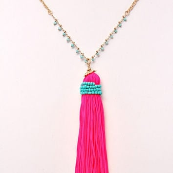 Tassel Bead Wrapped Necklace