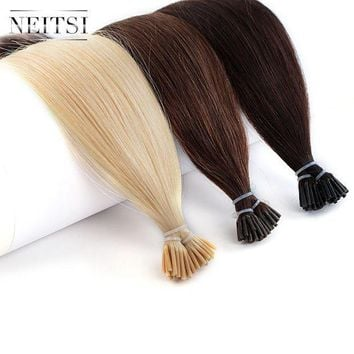 PEAP78W Neitsi Human Fusion Hair Straight 2# 6# 24# DIY Each Color 50pcs Brazilian Remy Capsule Hair Stick Tip I Tip Keratin Extensions
