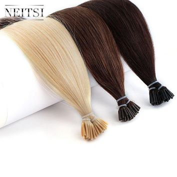 CREY78W Neitsi Human Fusion Hair Straight 2# 6# 24# DIY Each Color 50pcs Brazilian Remy Capsule Hair Stick Tip I Tip Keratin Extensions
