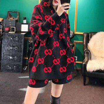 """Gucci"" Women Casual Fashion Double G Letter Loose Hooded Long Sleeve Knit Sweater Shorts Set Two-Piece"