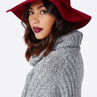 Missguided - Dory Bow Detail Floppy Hat Wine