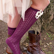 Sugar Plum Boot Socks: Wine