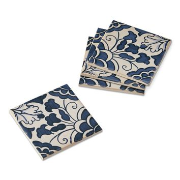 Sicily Blue Tile Coasters, Set of 4