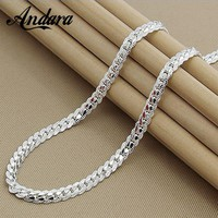 Fashion 6MM Full Sideways Necklaces Male Female 925 Sterling Silver Jewelry Necklace P172