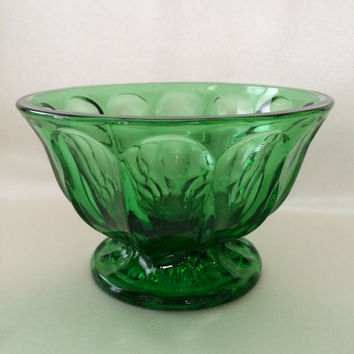 Anchor Hocking Green, Fairfield Pattern,  Footed Compote dish, Green pedestal bowl, Emerald Green dish, Mid Century Kitchen, Holiday Bowl,