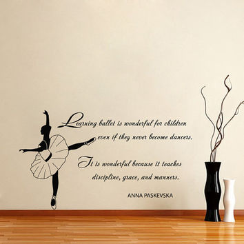 Quote About Dance Life Ballet with Dancer Ballerina Vinyl Decal Home Wall Decor Dance School Studio Stylish Sticker Unique Design Room V525