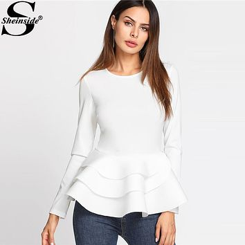 Sheinside 2017 Round Neck Tiered Ruffle Hem Long Sleeve Peplum Blouse White Tiered Layer Plain Top Women Elegant Blouse