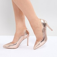 Faith Wide Fit Cassandra Rose Gold Pointed Heeled Shoes at asos.com