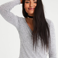 AE Soft & Sexy Ribbed Plush V-Neck Top, Stone Gray