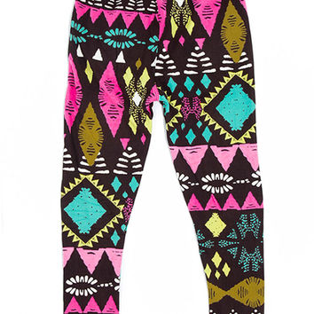 Girl's Beautiful Mixed Color Tribal Pattern Print Leggings - Black Yellow Fuchsia