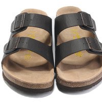 2017 New Fashion Birkenstock Summer Fashion Leather Cork Flats Beach Lovers Slippers Casual Sandals For Women Men black Couples Slippers size 36-45