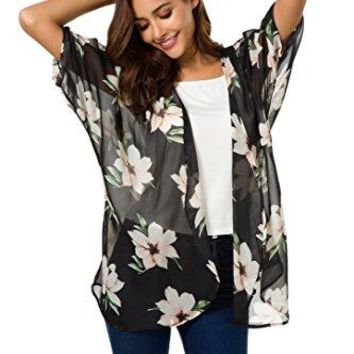NB Womens Short Sleeve Beachwear Sheer Chiffon Kimono Cardigan Solid Casual Capes Beach Cover up Blouse