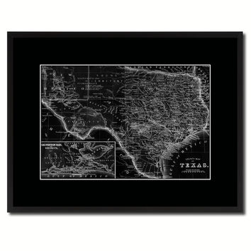 Texas Vintage Monochrome Map Canvas Print, Gifts Picture Frames Home Decor Wall Art