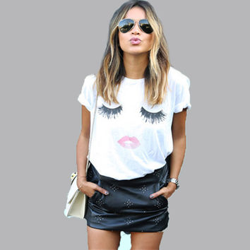NEW fashion white loose women t shirt Lashes lips pattern print  QA056