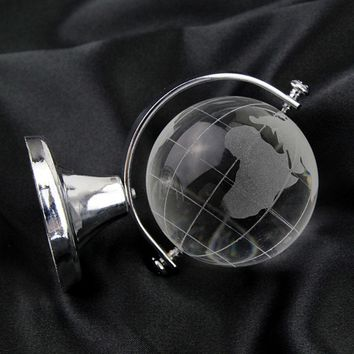 Clear Crafts Art Table Ornaments Paperweight Stand Gold Silver Glass Sphere Ball Round Earth Globe