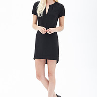 FOREVER 21 Crepe Woven Shift Dress Black