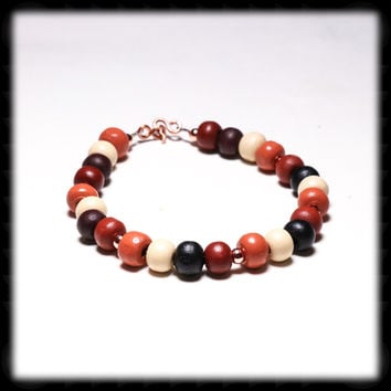Multi-Color Wooden Bead Bracelet