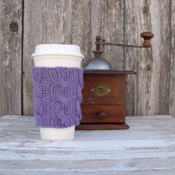 SALE 25% OFF - Coffee Cup Sleeve, Coffee Mug Cozy - Cable Knit Coffee Cup Cozy in Lavender Purple