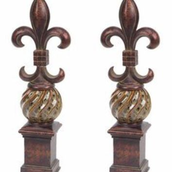 Fleur De Lis Finials, Set of 2 - Decorative Accessories - Home Accents - Home Decor