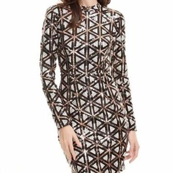 Insta-Famous Black Silver Gold Geometric Sequin Long Sleeve Crew Neck Cut Out Back Bodycon Mini Dress