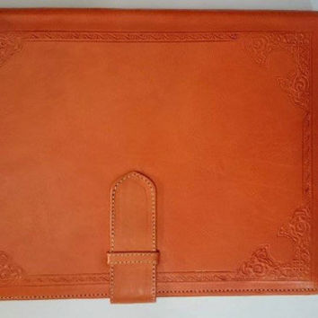 Handmade genuine Leather Laptop Sleeve, Moroccan laptop, Leather fold over, pad holder, 35 x 26 (cm)