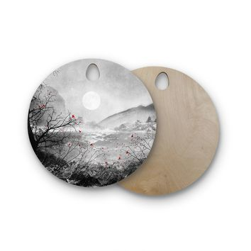 "Viviana Gonzalez ""The Red Sounds And Poems, Chap"" Gray Black Round Wooden Cutting Board"