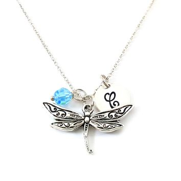 Dragonfly - Insect Charm - Personalized Sterling Silver Necklace
