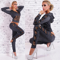 Womens Leopard Tracksuits With Bow Design