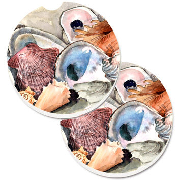Sea Shells Set of 2 Cup Holder Car Coasters 8619CARC