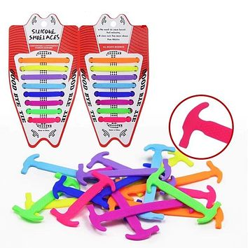 16pcs/lot Elastic Silicone Tieless Shoelaces