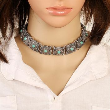 Ahmed Jewelry Europe Vintage Slivr Turquoise Boho Collar Choker Necklace Woman Maxi Square Necklaces & Pendants Bohemia Gift
