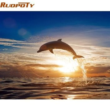 RUOPOTY diy frame Sunset Dolphin DIY Painting By Numbers Animals Calligraphy Painting Modern Wall Art Canvas For Home Decors Art