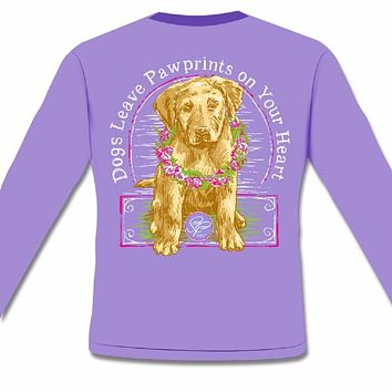 SALE Sassy Frass Comfort Colors Dog Leaves Pawprints on Your Heart Long Sleeve Bright Girlie T Shirt