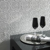 Graham & Brown Paintable Small Squares Wallpaper in White - 12011 - Wall Art & Coverings - Decor