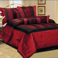 7 Piece Faux Silk Leopard Printing Comforter Set Bedding-in-a-bag, Red - Queen