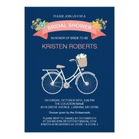 Bicycle Bridal Shower Navy Blue Coral Pink Floral Card
