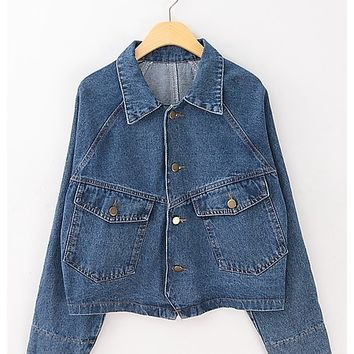 Vintage pockets loose denim jacket demin coat