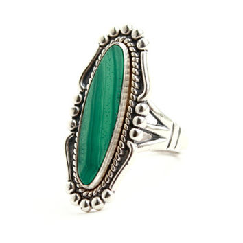 Vintage Sterling Silver Malachite Ring - Size 7 1/2  Filigree Studded Semi Precious Stone Native American Jewelry / Long Marquise