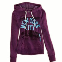 AEO Women's Nyc Hooded Popover (Purple)