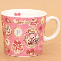 pink Piggy Girl pig in frames cup by San-X - Cups-Mugs - Bento Boxes