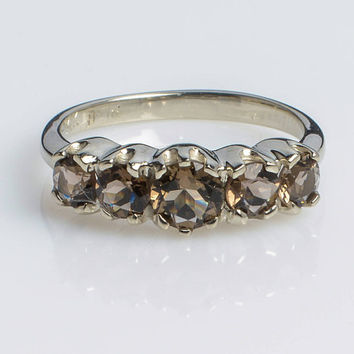 White gold Ring Crown five-stone Ring with Smoky Topaz set in 14K White Gold